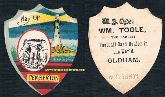 1890 Wigan Pemberton rugby card by W.N. Sharpe overprinted by William Toole of Oldham